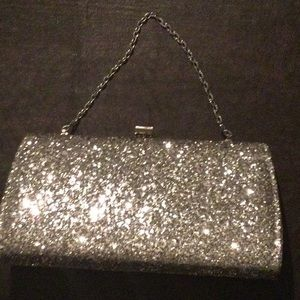 Antique silver sparkly evening bag